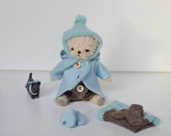 Artist teddy bear, Miniature teddy bear, teddy bear set, mini bear set,