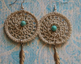 Boho Crochet Earrings, Crochet, Jewelry, Crochet Earrings, Bohemian Earrings, Dreamcatcher, Boho