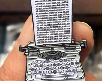Enamel Pin Horror The Shining Pin Art Typewriter The Shining Movie Jack Nicholson All Work And No Play Makes Jack A Dull Boy