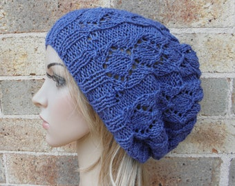 Hand knit slouchy hat blue silk angora slouchy beanie in blueberry lacy beret knitted softest warm winter fall slouch teen women READY MADE