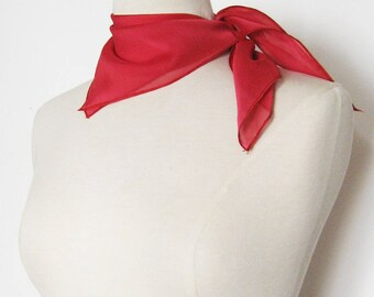 Square scarf or cover costume red chiffon
