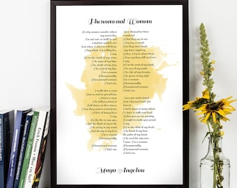 Maya Angelou, Maya Angelou Quote, Phenomenal Woman, Angelou Poetry, Watercolor Quote Poster, Wall art, Inspirational quote, Poetry,