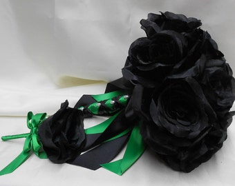 Wedding Bridal Bouquet Your Colors 2 piece Black Emerald Green Rose  Boutonniere Centerpiece Corsages FREE SHIPPING