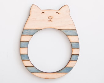 Wooden photo frame, Magnets, fridge magnets, Cat, Many color variations