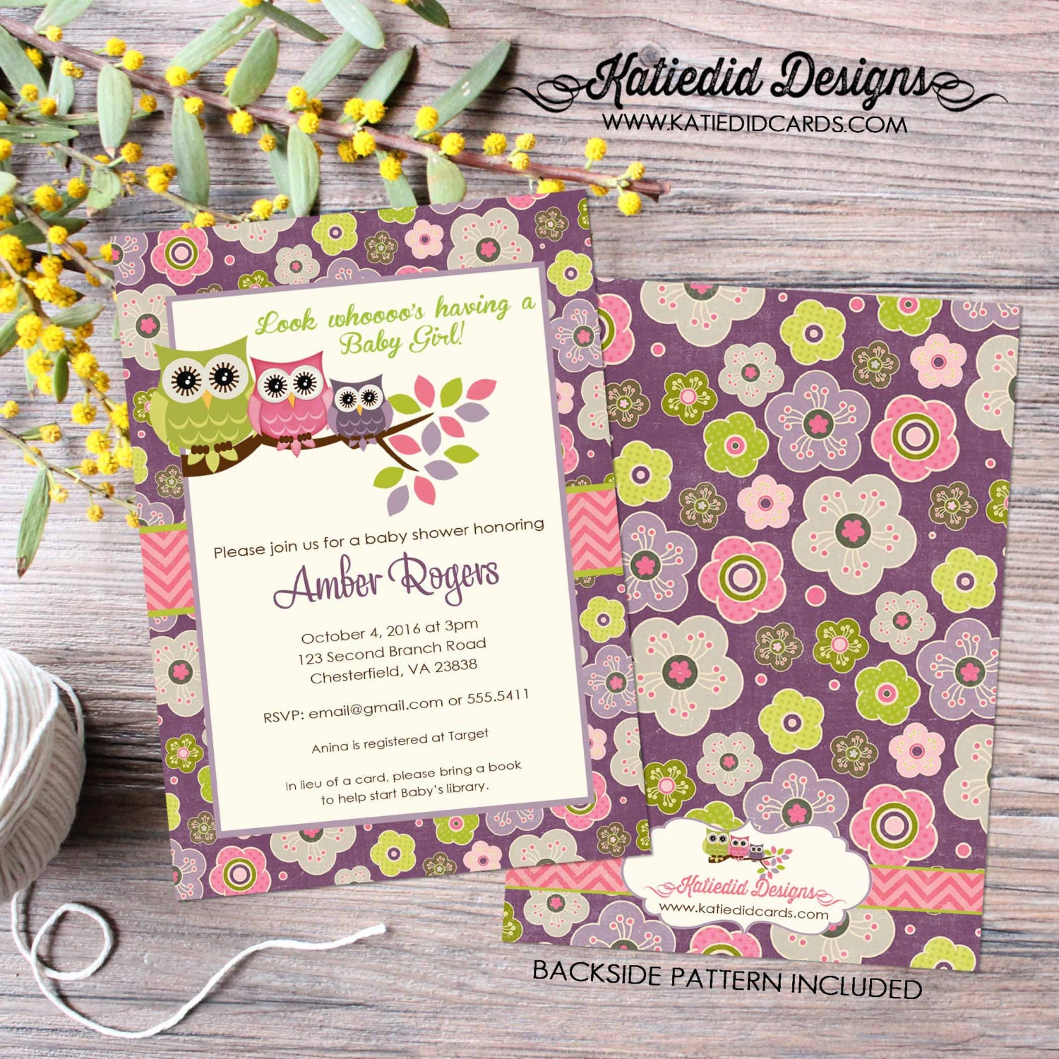 owl baby shower invitation floral chic invite surprise gender
