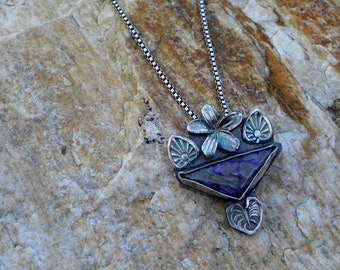 sterling plumeria pendant with charoite, garden necklace