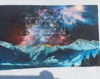 Mountain space metatrons cube geometric shirt