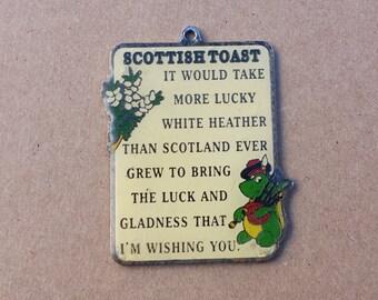 Scottish Toast Poem Vintage Pendant, Good Luck Pendant