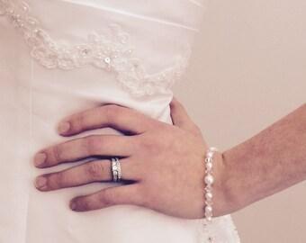 Bridal pearl and crystal bracelet