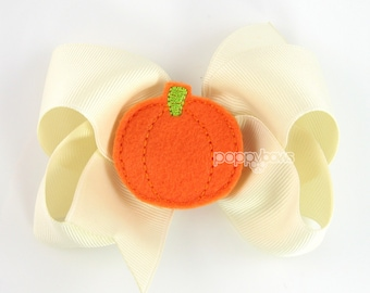 Pumpkin Patch Hair Bow - 4 Inch Ivory Hairbow with Orange Felt Pumpkin for Baby Toddler Girls No Slip Alligator Clip