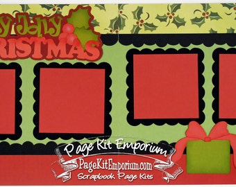 Scrapbook Page Kit Holly Jolly Christmas Boy Girl 2 page Scrapbook Layout Kit 60