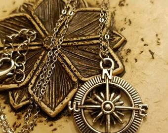 Compass Necklace,  Pendant,  Charm,  Silvertone