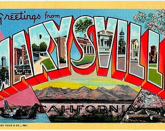 California postcard etsy vintage california postcard greetings from marysville unused m4hsunfo