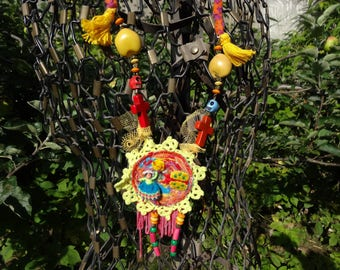 textile necklace Mexican style with Medallion textile art
