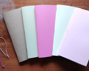 5x Strawberry Mochi Solid Color Blank Standard Traveler's Notebook Inserts - Plus Two Expansion Bands!