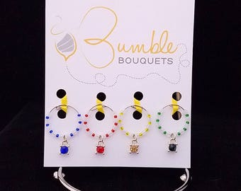 Wine glass marker - turtle charms