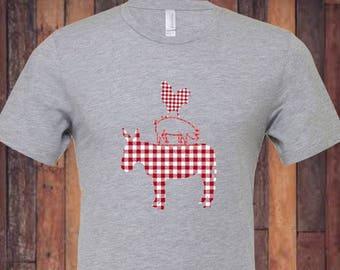 Farm Animal T Shirt /Red Gingham / Cow T Shirt / Pig T Shirt / Chicken T Shirt / Rooster T Shirt / Farmin Aint Easy / Farming isn't easy