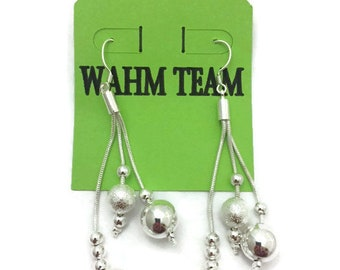 Silver Earrings, Silver Dangle Earrings with Silver Beads, Silver Drop Earrings with Beads, Silver Dangle Earrings, Wedding Earrings