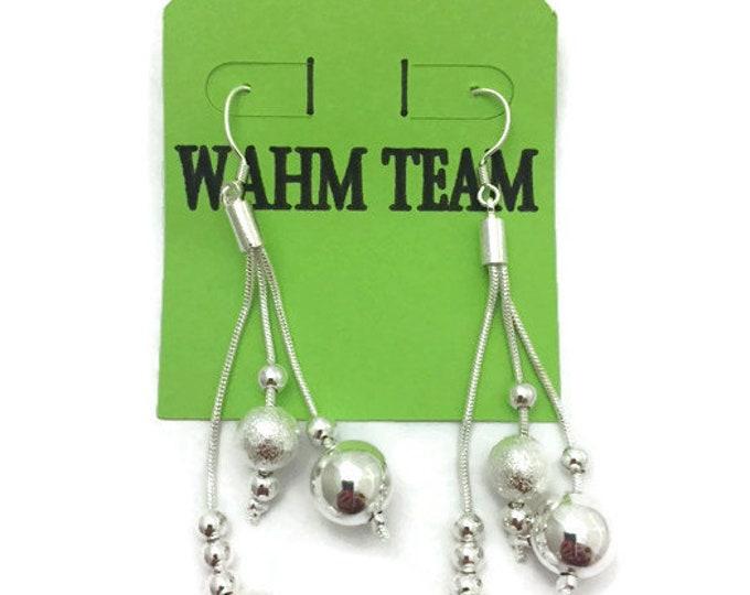 Silver Earrings, Silver Dangle Earrings with Silver Beads, Silver Drop Earrings with Beads, Silver Dangle Earrings, Wedding Earrings