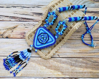 Bead embroidery necklace, wife gift, blue embroidery necklaces