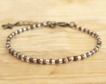 Bracelet color Bronze and clear - delicate and feminine Bracelet - seed beads