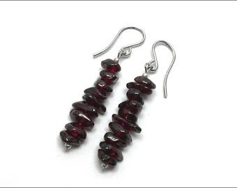 Garnet Pebbles / Chips Drop Earrings