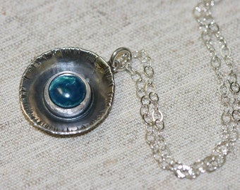 Eilat Stone Pendant, Silver Nacklace , 925 Sterling Pendant, Silver Jewelry, Blue Stone, Birthstone Silver Jewelry,