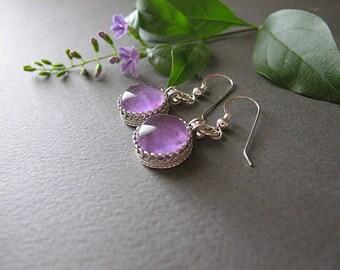 Amethyst silver earrings, Purple earrings, February birthstone earrings, everyday earrings, Small earrings, Israeli jewelry, dangle earrings