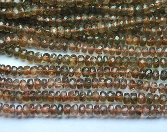 New Arrival,13.5 Inch Strand,Superb-Finest Quality,Natural ANDALUSITE Faceted Rondelles,5mm size