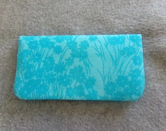 Fabric Checkbook Cover - Blue Batik
