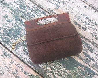 Chocolate Brown Brushed Velvet Handbag// 1960's// Shoulder Strap