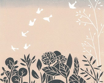 Birds Flight at Dusk Linocut Print - Limited Edition  Print of only 15 - Blush Pink and Gray Magical  Landscape - Treescape and White Birds