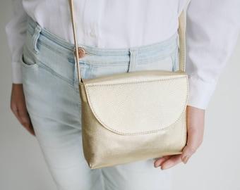 Minimalistic cross body bag gold metallic leather, small satchel bag, small handbag, leather purse, bridal bag