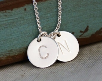 Two Initials Necklace / Sterling Silver Necklace / Hand Stamped / Personalized Jewelry