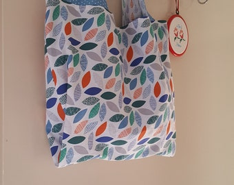Large Reusable Grocery Bag, Shopping Bag, Cotton Tote Bag, Lined, Reversible, Project Tote, Ecofriendly, Zero Waste, Leaves & Polkadots