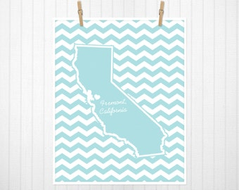 State Heart Print, State Print, State Poster, State Sign, State Art, Chevron, Custom Color  - 18x24