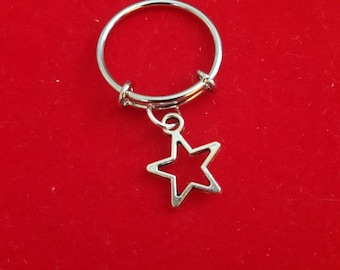 Silver Star Adjustable Charm Ring