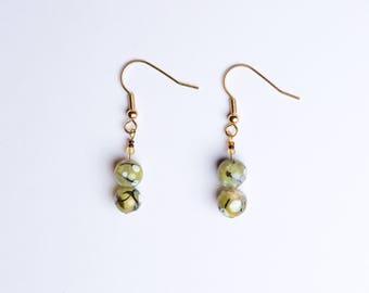 Green Marble Beaded Drop Earrings