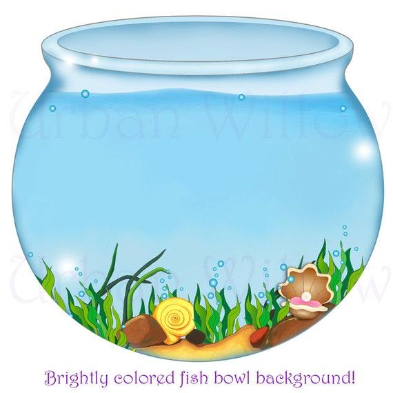 fish bowl image digital backgrounds mermaid clipart digital rh etsy com free clipart fish bowl School of Fish Clip Art
