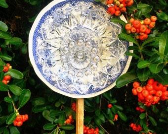 Kensington • Yard Art • Glass Garden Flower • Vintage Repurposed China Blue & White Federal Petal Decor • Upcycled Floral