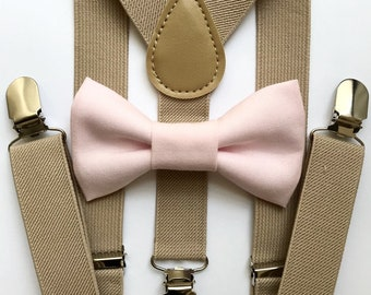 Bowtie and Suspenders Set/Ballet Pink Bowtie/Blush Pink Bowtie/Tan Suspenders/Baby and Toddler Bowties/Birthday and Wedding Sets