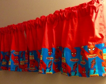 COLORBLOCK SUPERHERO VALANCE Curtain Boys Room,  Window Treatment for  kid's   Room, 42 x 16 inches, Length include Rod Pocket.