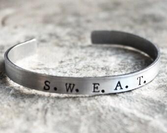 SWEAT Bracelet, She Will Endure All Things Jewelry, s.w.e.a.t., Motivational Bracelet, sweat womens fitness jewelry