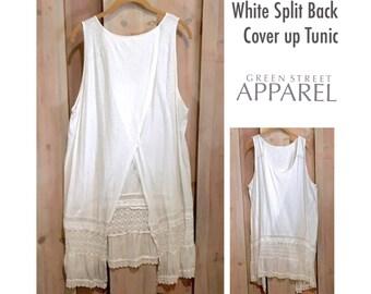 White Split Back Tunic, White Coverup, Upcycled Clothing, Refashioned Clothing, Funky Tunic, Boho Tunic, Romantic Tunic, Lace Bottom Tunic