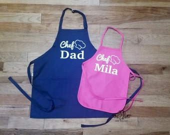 Matching aprons, Personalized Father & daughter Apron Set, fathers day gift, cooking apron set,