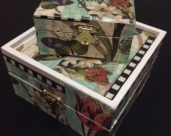 Gift Wooden Box Jewelry with decoupage (set 2)