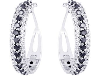 Stunning Black Diamond Hoopla Earrings in  925 Silver With American Diamonds , Customized option