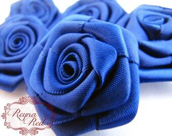 Dark Blue Royal Blue Navy Satin Ribbon Fabric Flowers, 5 pcs, 34mm size,  ribbon roses, hair clip embellishment - reynaredsupplies