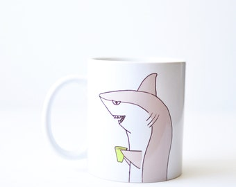 Shark mug - christmas holiday gift - handmade 11oz white shark week coffee cup hand painted gray green xmas stocking stuffer