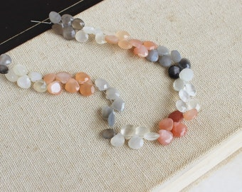 AAA Multi Moonstone Gemstone Faceted Heart Briolette 6 to 7mm 30 beads 1/2 Strand